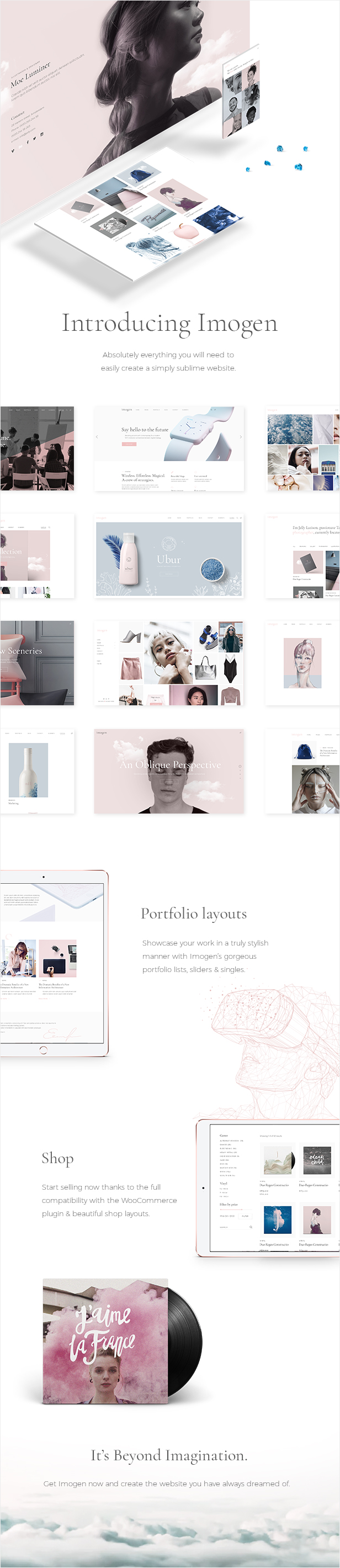 WordPress theme Imogen - An Elegant Theme for Designers and Creative Businesses (Creative)